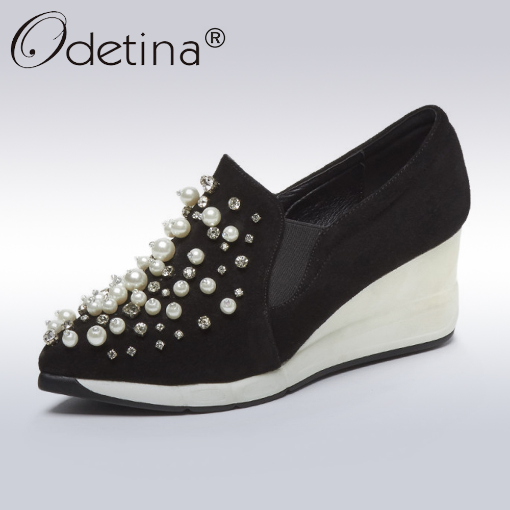 Odetina Autumn Genuine Leather Wedges Shoes Women Black Cow Suede Casual Shoes Lady Fashion String Bead Crystal Platform Shoes elevator 2015 autumn single shoes women s black genuine leather wedges casual shoes dawdler women s platform shoes