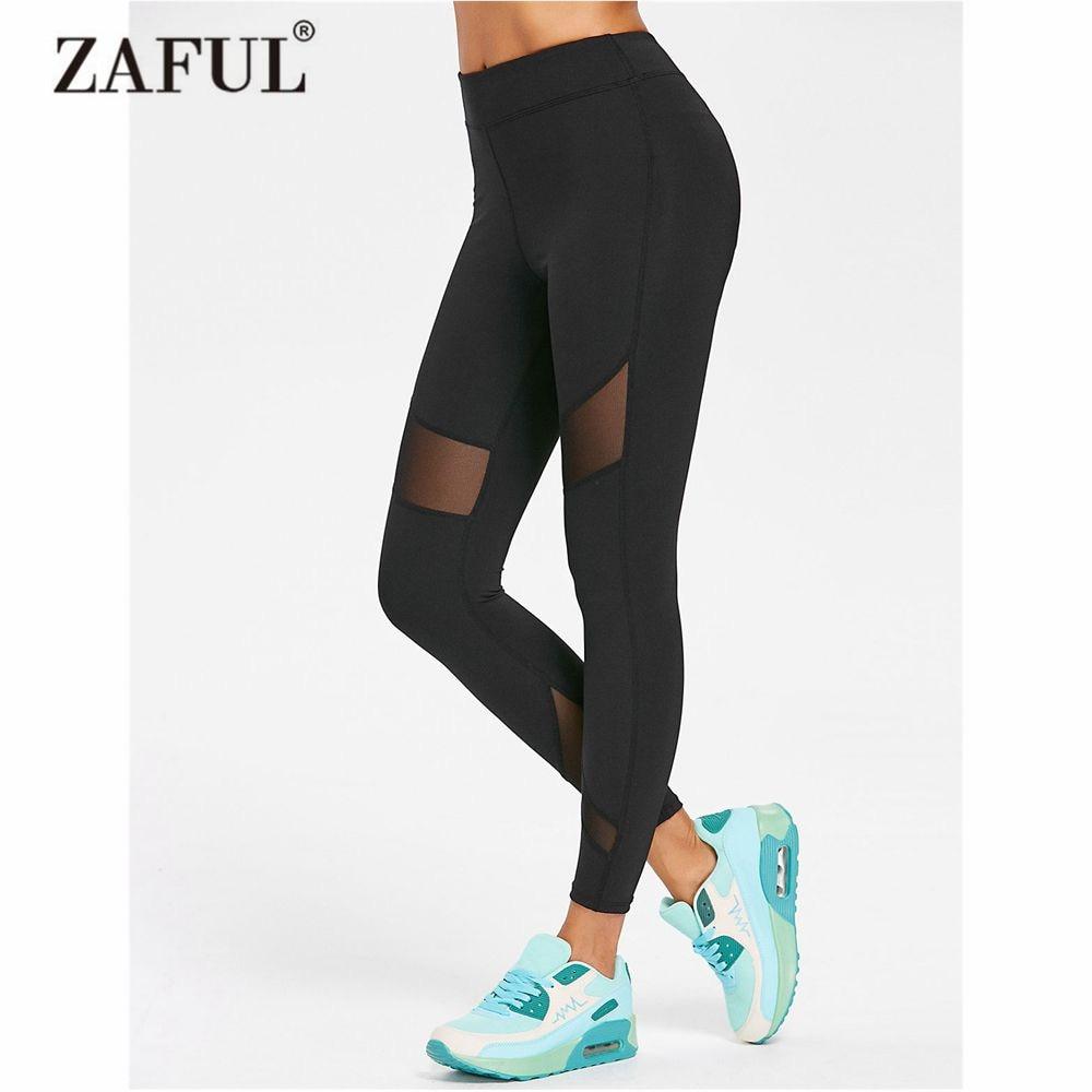 ZAFUL Yoga Pants Women Mesh Insert Gym Leggings High Waist Comfy Flex Yoga Pants Fitness Running Sport Leggings Tight Trouser