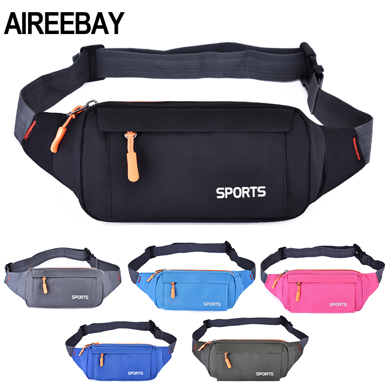 AIREEBAY Waist Pack Women Running Waterproof Waist Bag Mobile Phone Holder Men Gym Fitness Travel Pouch Belt Pink Chest Bags