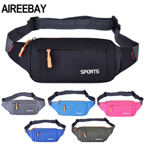 AIREEBAY Waist Pack Women Running Waterproof Waist Bag Mobile Phone Holder Men Gym Fitness Travel Pouch Belt Pink Chest Bags(China)