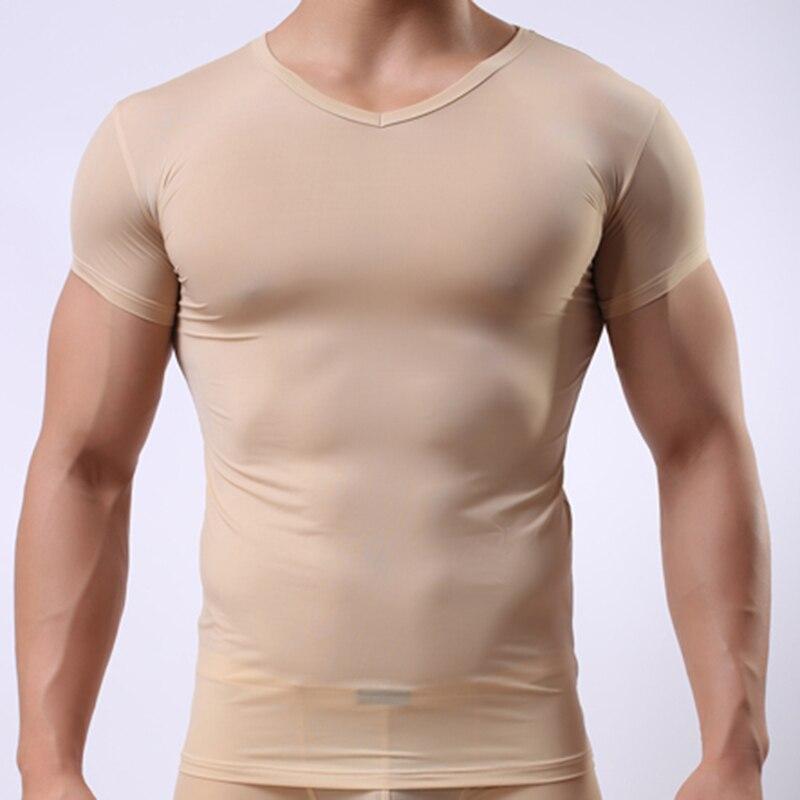 Man Undershirt/Men Super Thin Ice Silk Sheer T Shirts/Male Mesh Transparent V-neck Short Sleeves Inner Tops