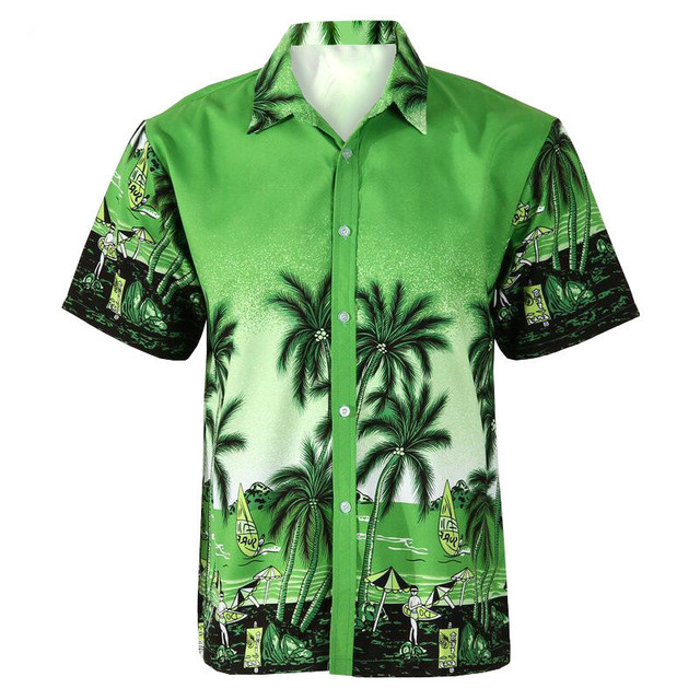 9577acc2cae FDWERYNH Men Shirt Summer Style Palm Tree Print Beach Hawaiian Shirt Men  Casual Short Sleeve Breathable