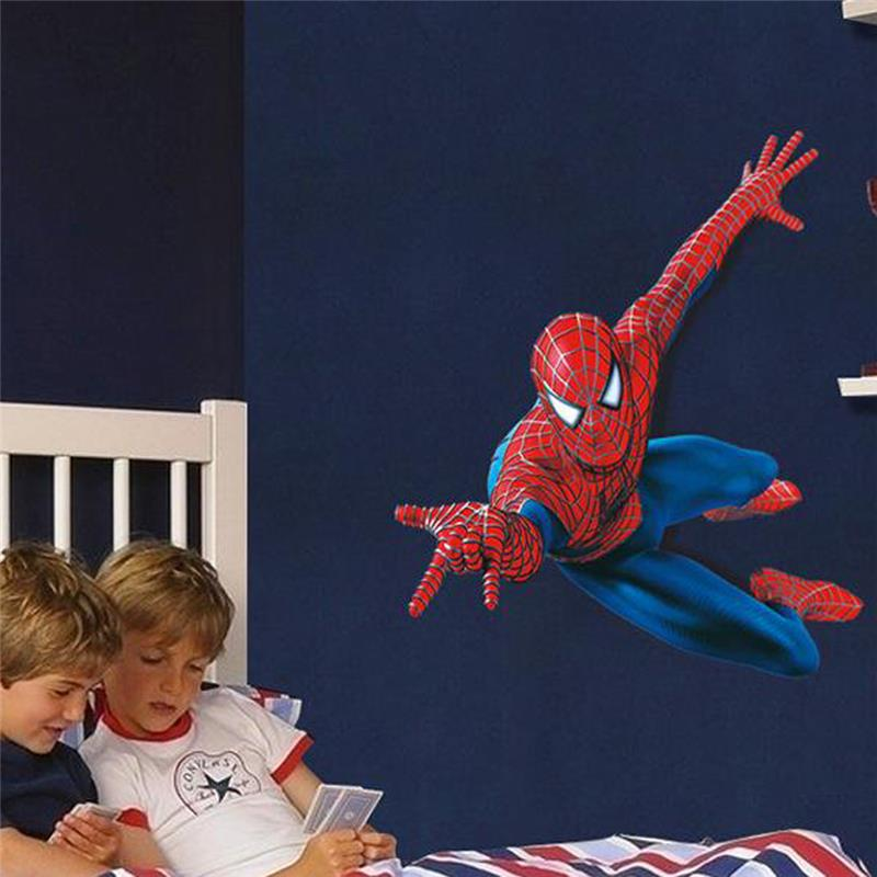 Spider Man Super Heroes Wall Stickers For Nursery Kids Bedroom Anime Decoration PVC Cartoon Movie Home Decal 3D Mural Art Poster