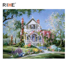 RIHE Dreamy Villa Diy Painting By Numbers Abstract Garden Oil On Canvas Cuadros Decoracion Acrylic Wall Art Picture