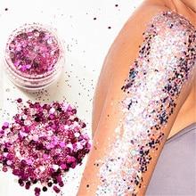 Гибридные блестящие круглые разноцветные баночки с блеском для ногтей, лица, тела, тени, блеск, красота, макияж, блестящая пудра