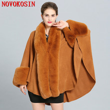 SC277 2018 Solid Faux Fox Fur Neck Coat Women Long Knitted Loose Cardigan Winter Warm Thick Poncho Batwing Sleeves Big Cloak цена