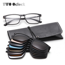 TWO Oclock 7 In 1 Magnet Sunglasses Men Polarized Clip On Glasses Women Square P