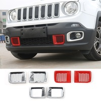 2 PCS Red Chrome ABS Front Bumper Grill Air Vent Outlet Cover For Jeep Renegade 2015