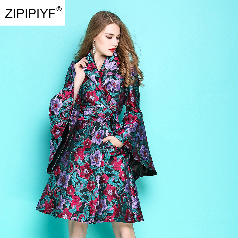 BELTED Trench Embroidery Windbreaker Jacquard Slim Female Vintage Autumn Women Fashion
