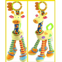 Plush Toys Infant Baby Development Soft Giraffe Animal Toys Baby Car Hanging Bed Hanging Rattle Teether Baby Comfort Toys 46cm giraffe rabbit bed bells infant toy ultra long hanging giraffe baby toys rattle bed bells toys 20% off