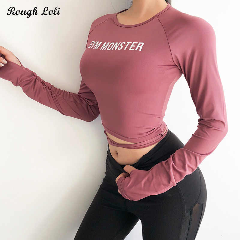 Rough Loli Crop Yoga Shirts for Women Long Sleeve Ribbon Crop Top Fitness Gym Shirt Workout Tops with Thumb Hole Running Shirt