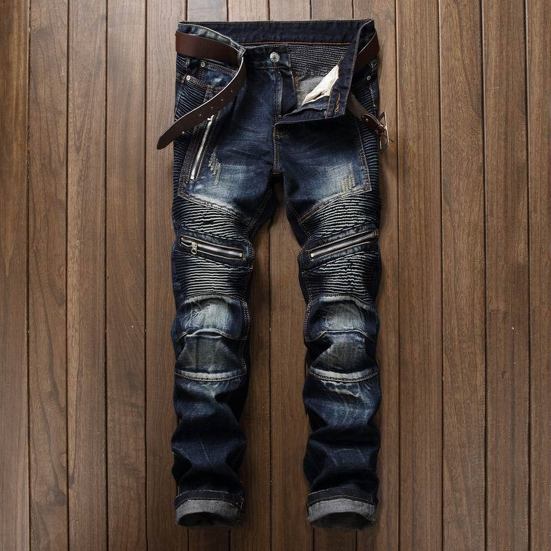 Pleated Biker Jeans Pants 2019 Men's Slim Fit Brand Designer Denim Trousers For Male Straight Washed Multi Zipper Pants Homme