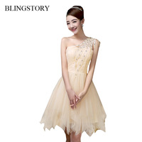 BLINGSTORY Atacado Coreano de Um Ombro Sexy vestido de Noite elegante rendas Banquete Vestido Da Senhora vestidos juvenil PYD29