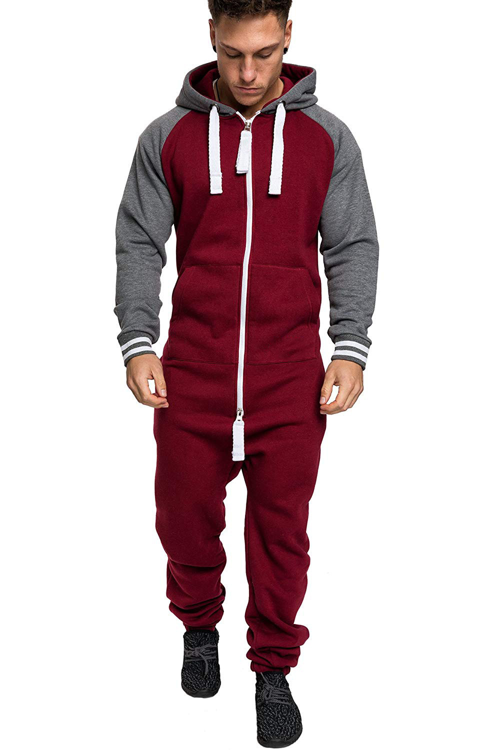 Casual Autumn Hooded Tracksuit Jumpsuit Long Pants Romper For Male Mens Fleece warm Overalls Sweatshirts Male Streetwear X9126 16
