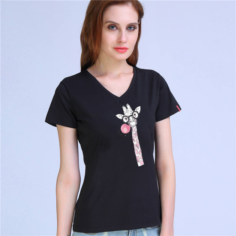 2c66ec52e5 2017 summer printed t shirt for female kawaii giraffe tops femme tshirt  roupa feminina tumblr poleras camisetas tee shirt-in T-Shirts from Women's  Clothing ...