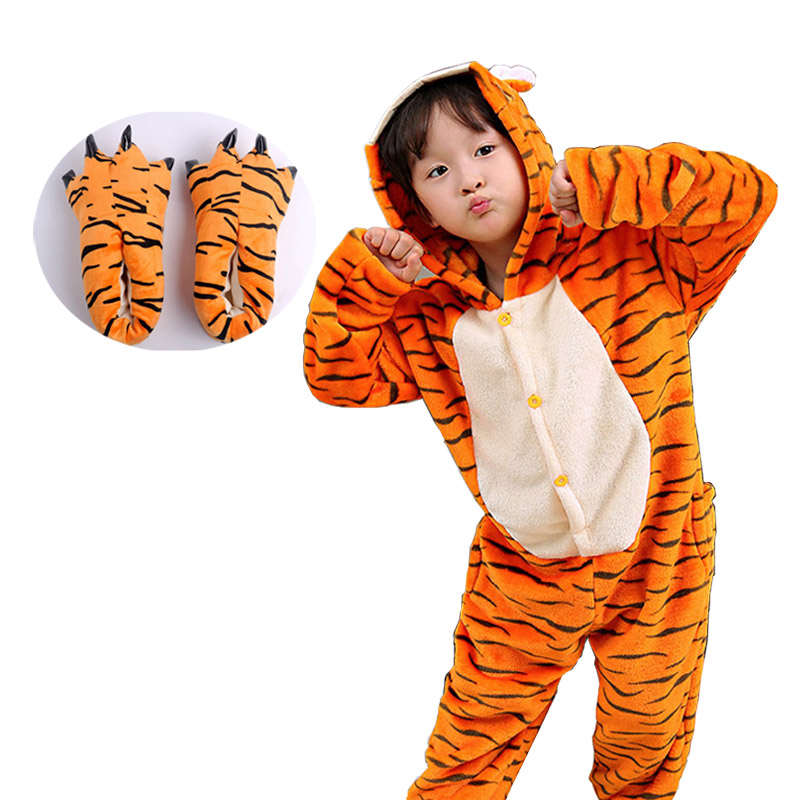 Animal Tiger Kigurumi Onesie Children Pijama Pajamas Funny Flannel Warm Soft Sleepwear Overall Jumpsuit Cute Cosplay Costume