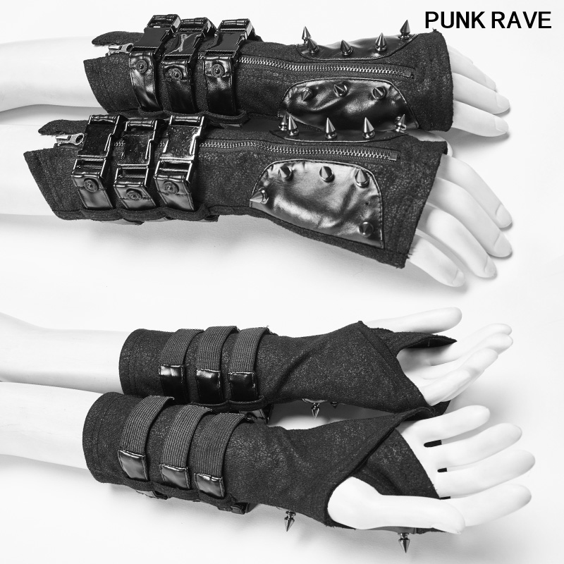 Gothic Motocycle Gloves Cosplay One Pair Steampunk Metal Rivets Bandage Fingerless Women Gloves Military Punk Rave WS-278SSF