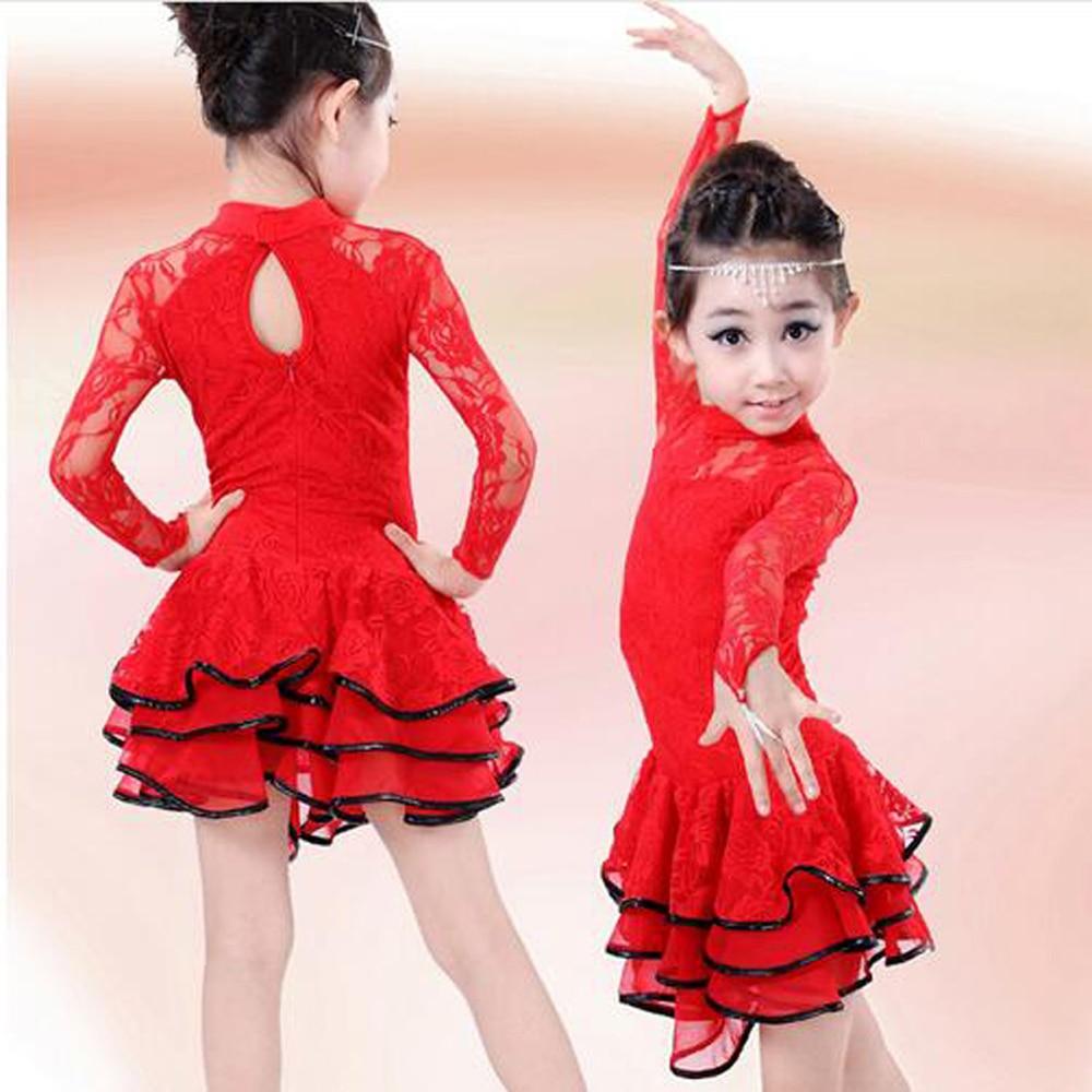 2017 Christmas Long Sleeve Latin Dress Girls Lace Dancewear Stage Performance & Competition Modern Dance Costumes Latin Skirts