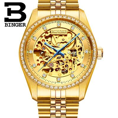 Binger Mens Watches Top Brand Luxury Automatic Mechanical Watch Men Full Steel Business Waterproof Sport Watches Relogio Masculi free shipping hot fashion men top brand binger watches automatic mechanical male table luxury gold watch steel