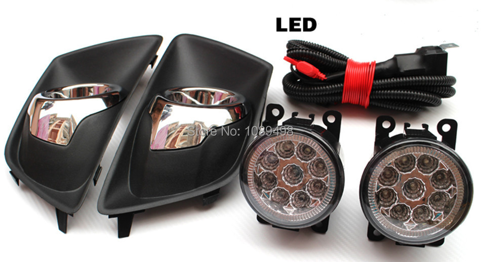 1 Set front bumper LED White fog lights fog lamp kits+ covers with chromed trim hole + wiring harness for Ford Ecosport 2013 set j087 black steel 10th anniversary front bumper with fog lights fits 07 17 jeep wrangler