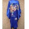 Alta Qualidade Azul Falso Fêmea Seda Salão Roupão Sleepwear Novidade Kimono Vestido Moda Nightdress Dropshipping One Size NS0033