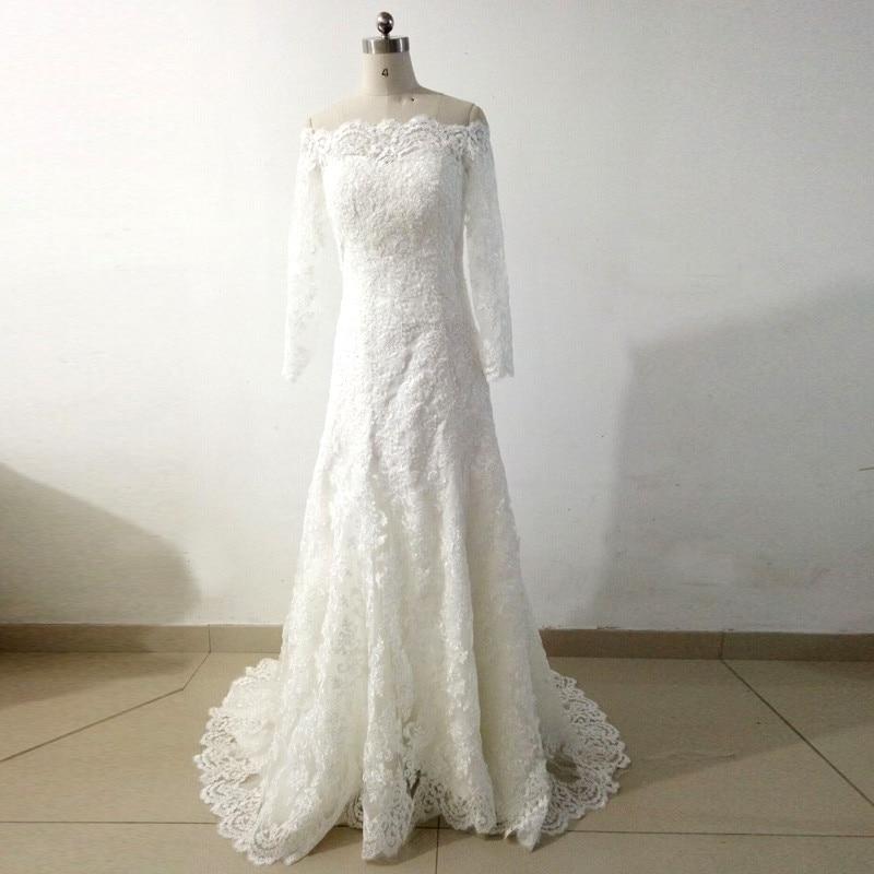 Vintage lace long sleeve wedding dress boat neck button for Boat neck long sleeve wedding dress
