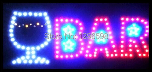 2017 direct selling customed low power 10x19 inch semi-outdoor Ultra Bright flashing bar led sign