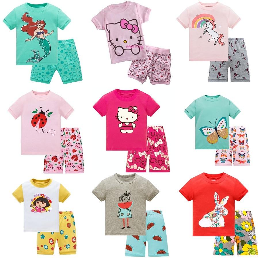 Baby kids   Pajamas     Set   summer children Short Sleeve cotton sleepwear Gir Cartoon pyjamas girls cute home clothing boys nightwear