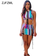 a1b7104d6cc ZJFZML Sexy Lace Up Bandage Two Piece Set Dress Women Sleeveless Hollow  Summer Bodycon Dress Rainbow