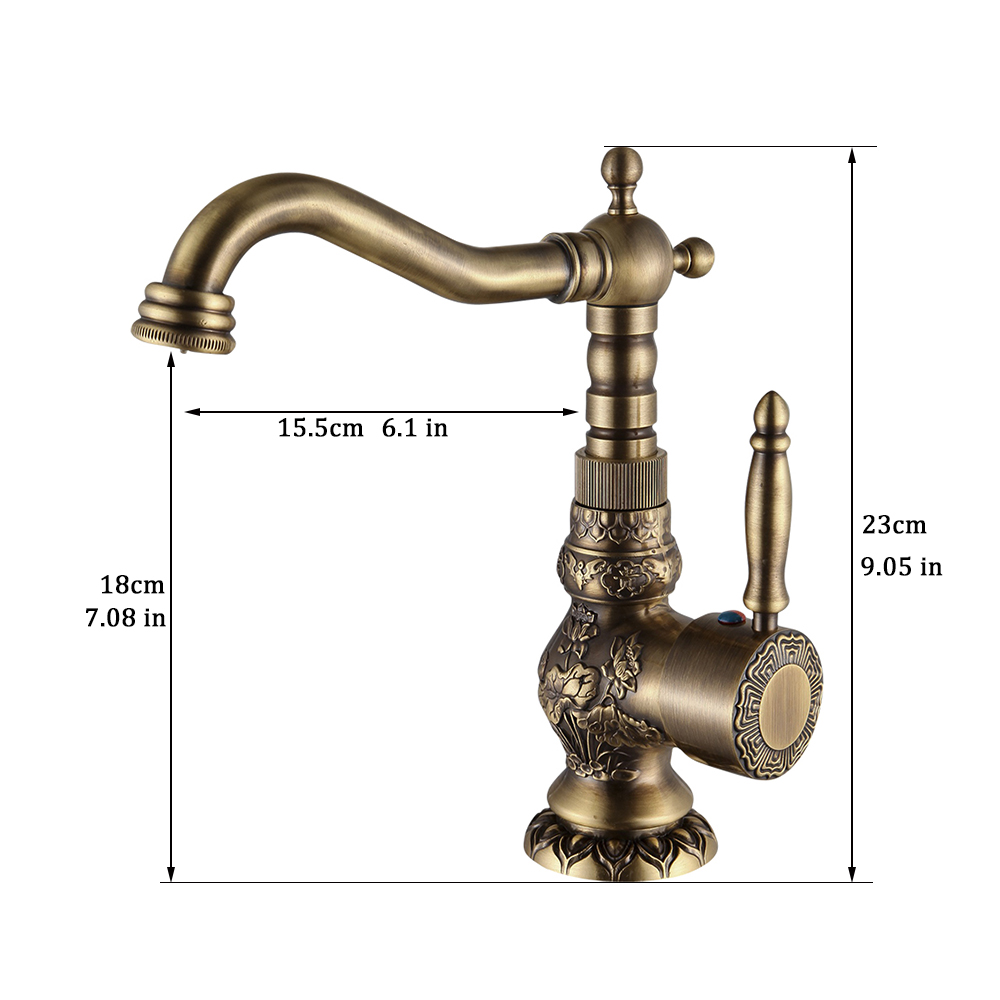 Basin Faucets Antique Brass Bathroom Faucet Basin Carving Tap Rotate ...