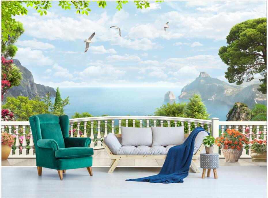 Custom mural 3d photo wallpaper European window balcony sea Background wall painting 3d wall murals wallpaper for walls 3 d custom 3d photo wallpaper for walls 3 d wall murals wallpaper 3d european style white building palace living room tv wall paper