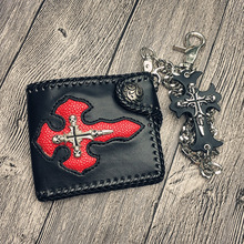 Retro Punk Cross Short Wallets PU Leather Men Wallets Gothic Skull Luxury Hasp Purse with Chain Fashion Women Rivet Card Holder