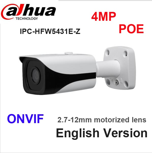 DAHUA 4MP POE IP Camera IPC-HFW5431E-Z WDR IR Bullet Network Camera IP67 DH-IPC-HFW5431E-Z 4 mega pixel without logo free shipping dahua ip camera cctv 6mp wdr ir eyeball network camera with poe ip67 without logo ipc hdw5631r ze