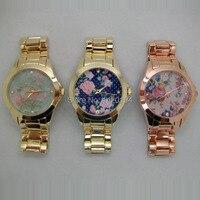 החדש הדפסת Vintage נשים פרחונית חיוג שעון קוורץ צמיד זהב