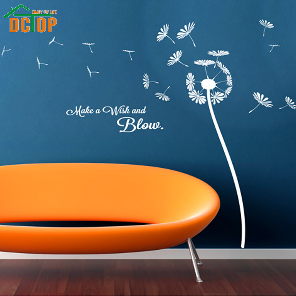 Online Shop DIY Plant Wall Art White Wall Stickers Dandelion Make A Wish  And Blow Decorative Decals | Aliexpress Mobile
