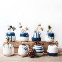 8 Pcs Set Handmade Porcelain Planter Home Decor Flower Pot Bonsai Planter Original Design Mini Ceramic