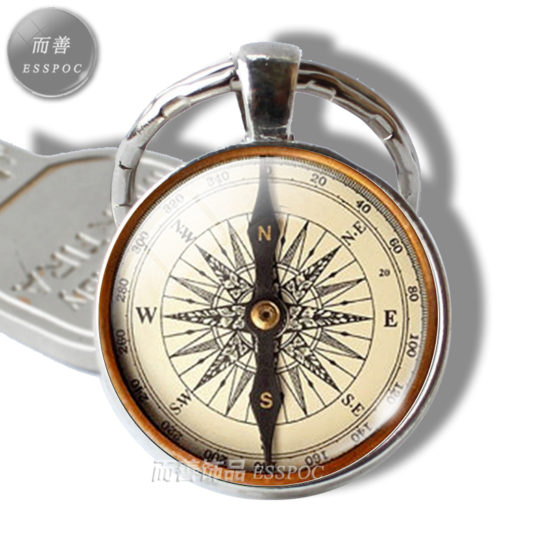 Винтажный компас, брелок для ключей, коробка с иглами, стеклянный кабошон, подвеска, брелок для ключей для мужчин и женщин, модные аксессуары, подарки для любителей путешествий|lovers gift|key chain menpendant key | АлиЭкспресс