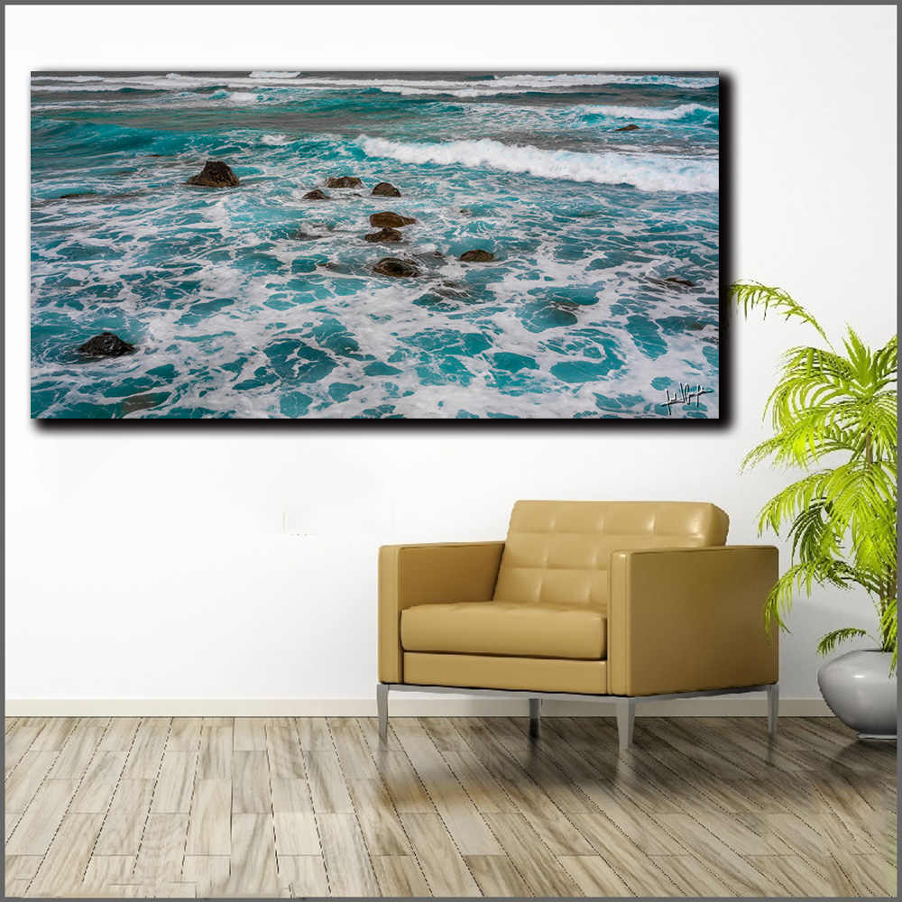 ทะเลน้ำ Seaview ภาพผนังภาพวาดผ้าใบพิมพ์ห้องนั่งเล่นตกแต่งบ้าน Modern Wall Art ภาพวาดสีน้ำมันโปสเตอร์