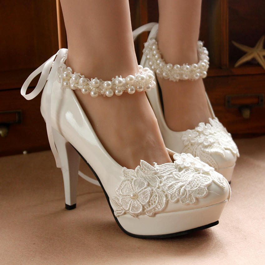 Aliexpress.com : Buy Crystal Wedding Shoes Pearl Ankle Straps ...