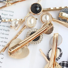Korean Trendy Metal Hair Accessories Geometric Irregular Gold Color Small Fresh Clip Imitation Pearl Hairpin Barrettes