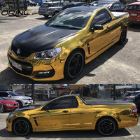 Stretchable Chrome Gold Vinyl Film Car Wrap Foil With Air Channel Mirror Chrome Truck Vehicle Body Wrapping Size:1.52*20M/Roll