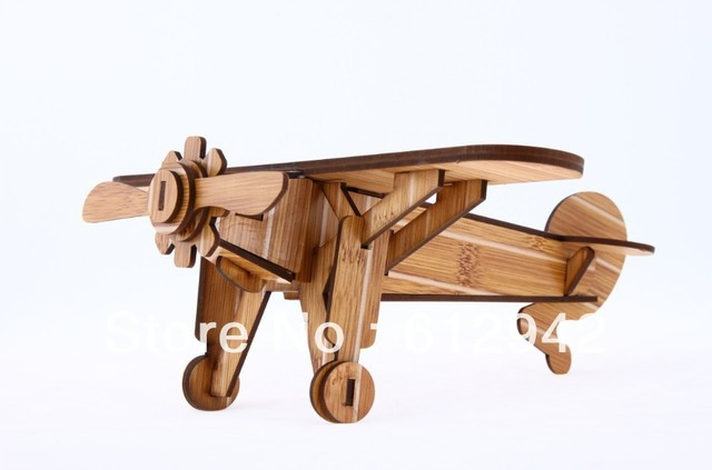 Free Shipping 3D DIY Wooden puzzle  handmade toys wooden promotional airplane  model