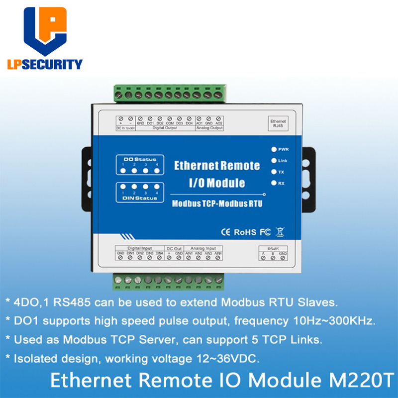 Hard-Working Modbus Tcp Rtu Ethernet Remote Io Module Web Realtime Monitoring 4 Digital Output+rj45+rs485 Support Pwm Output M220t 50% OFF Building Automation
