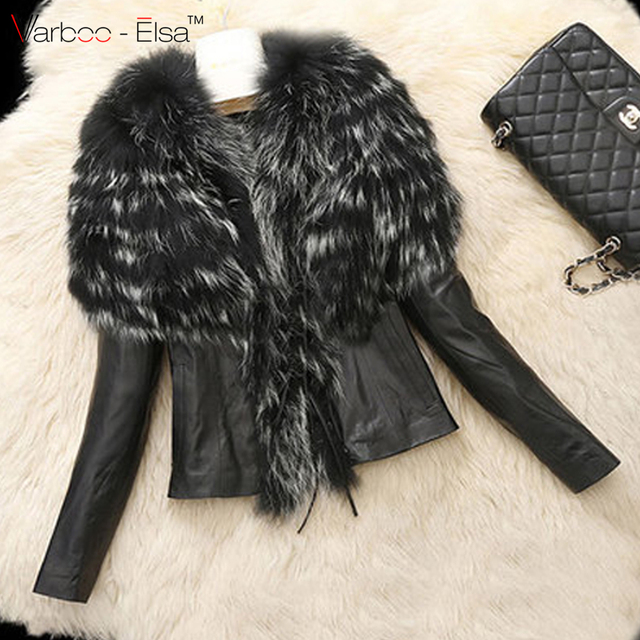 2f258eed4350 VARBOO ELSA 2016 Winter New fashion Women s Warm Fur Collar Coat Leather  Jacket long sleeve Outwear black faux fur plus size 6XL