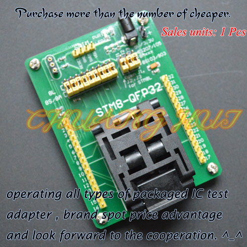 STM8-QFP32 STM8 QFP32 TQFP32 FQFP32 PQFP32 Test Socket Programming Adapter 0.8mm Pitch m48 adp atmega48 atmega88 atmega168 tqfp32 avr programming adapter test socket