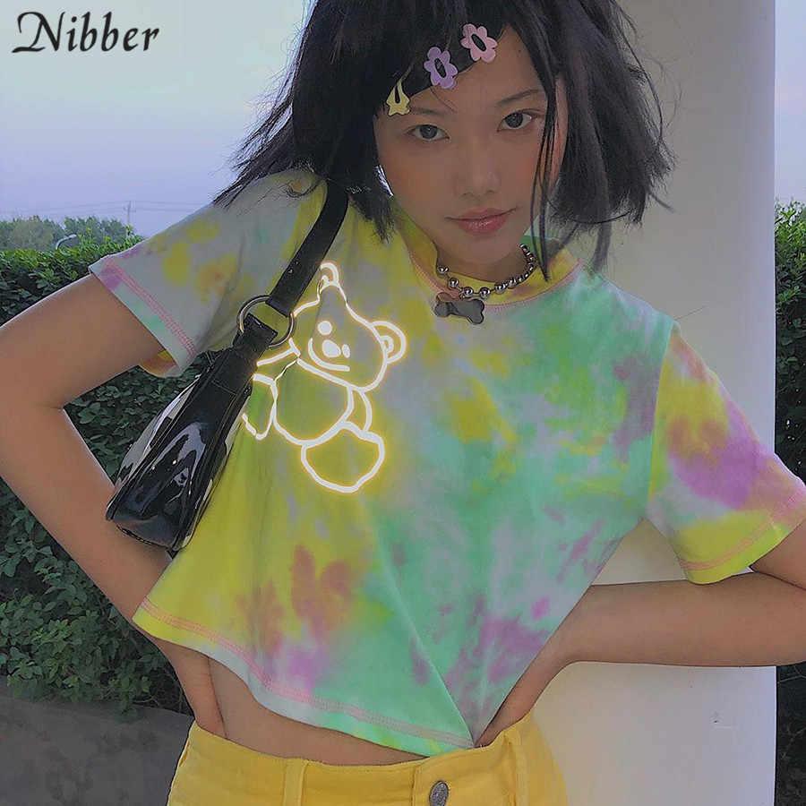 Nibber/милый укороченный топ Харадзюку с изображением медведя из мультфильма, футболки для девочек, женские летние классические повседневные футболки контрастного цвета, mujer