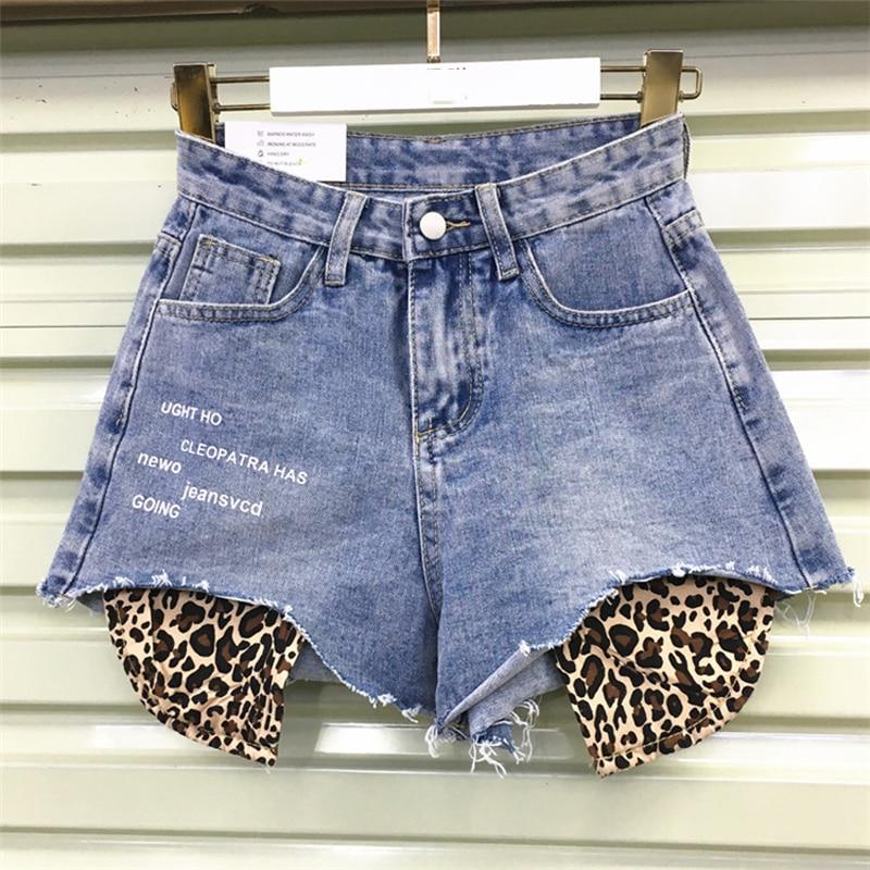 S-3XL New Cotton Denim Shorts Women 2019 Fashion Leopard Jeans Loose Vintage Raw Denim Shorts Female Harajuku Denim Shorts #7212