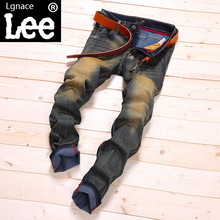 Lgnace LEE spring summer new men's jeans casual washing retro stretch Slim small straight Large size