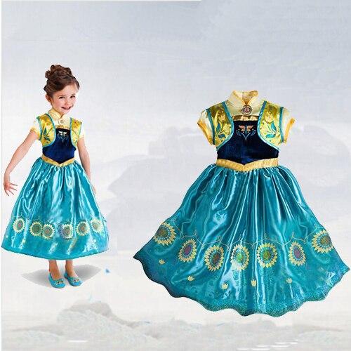 ФОТО 2016 Autumn Elsa Dress Baby Kids Custom Cinderella Girls Tutu Dress Princess Children Reine Des Neiges Christmas Dress