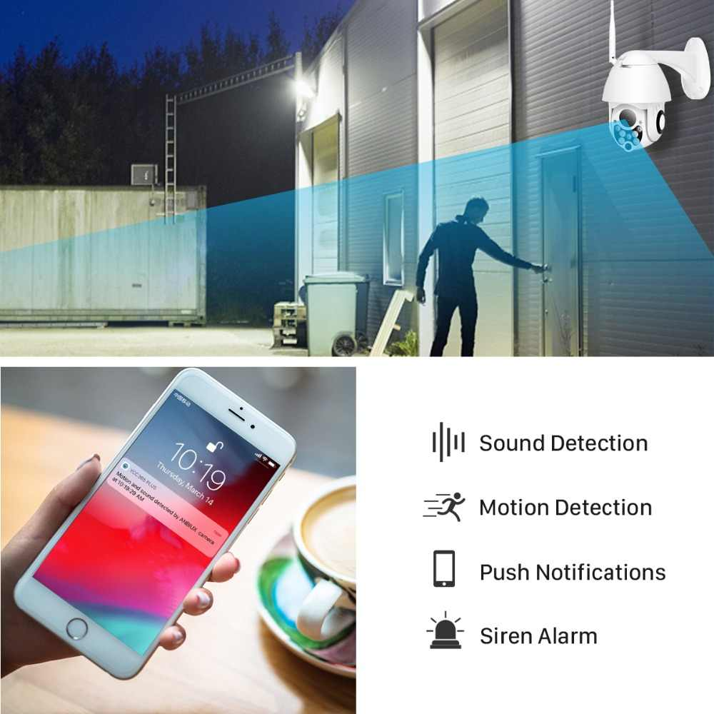 Besder 1080P Ptz Ip Camera Alarm Push Outdoor Wifi Camera Twee-weg Audio 4X Digitale Zoom Ir Night vision Cctv Security Camera
